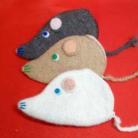 猫毛と羊毛で作るネズミのポーチ